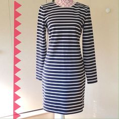 """Michael Kors blue/white striped shift dress Dark blue and white striped shift dress, long sleeve crew neck. Fabric a little heavyweight but with some stretch to it. Approx 34.5"""" long, arm inseam 18"""", bust 16"""", shoulder seams 15"""". PRICE FIRM Michael Kors Dresses Long Sleeve"""