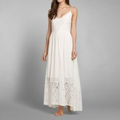 Womens Drapey Lace Maxi Dress | Womens Dresses & Rompers | Abercrombie.com