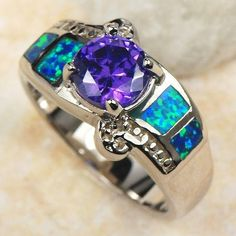 925+Sterling+Silver+Faceted+Blue+Fire+Opal+by+TheEiffelTeaRoom,+$43.00