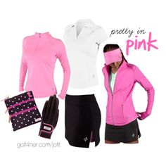 """""""Golf OOTD: Pink and Charcoal"""" by golf4her on Polyvore"""