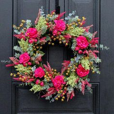 Stunning Pink Camellia, Heather Cluster, and Currant Berry make for the luxurious color combination that will dress up any space or door! Be the envy of your neighborhood! New for wreath Summer Door Wreaths, Wreaths For Front Door, Holiday Wreaths, Spring Wreaths, Front Doors, Front Porch, Gold Christmas Decorations, Christmas Mantels, Christmas Holiday