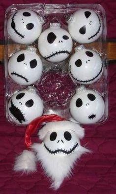 Jack Skellington Christmas ornament idea! LOVE THIS. #NightmareBeforeChristmas #GeekDIY #ChristmasOrnaments