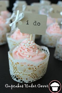 cupcakes wrapped in vintage or new lace!! What would you use to adhere the lace together in back? Fun for more than a wedding too