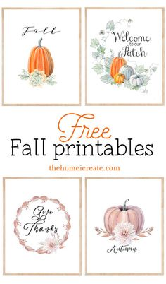 Use these 4 printable fall signs for an easy and free way decorate your home this fall season. Use these 4 printable fall signs for an easy & free way decorate your home this fall season! Thanksgiving Crafts, Fall Crafts, Fall Halloween, Halloween Crafts, Free Printable Art, Free Printables, Vintage Fall, Fall Projects, Fall Signs