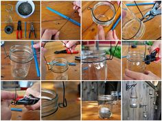 how to wire hang mason jars