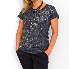 MILKY WAY. Dark T shirt for woman or girl. Hand printed by Smukie
