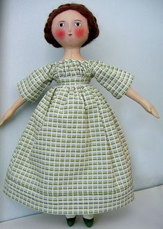 Gail Wilson doll by by needle book. IDEA.... Add white apron embroidered with small alphabet plus pocket for scissors and needles
