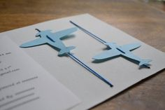 Baby boy shower Invitation- Paper Plane invitations for Baptism-Party-Baby Shower 10 pcs
