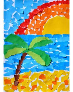 Good Snap Shots Paper Crafts creative Thoughts Trying to find fresh hobby tips? Without even abandoning your house, you can get printer paper craf Kindergarten Art, Preschool Crafts, Fun Crafts, Crafts For Kids, Paper Crafts, Paper Mosaic, Mosaic Art, Summer Crafts, Summer Art