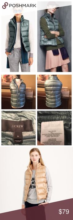 J. Crew Shiny Puffer Down Vest- Green, Medium J. Crew Shiny Puffer Down Vest- Green, Medium  Super cute shiny puffer vest in fabulous like-new condition. ☺️ Measures 23 inches in length shoulder to hem, bust is 40 inches. J. Crew Jackets & Coats Vests