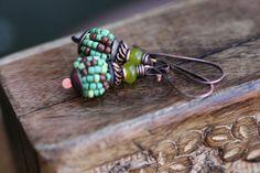 SALE Rustic Boho  Beaded in Green and Brown n. 4 by Tribalis
