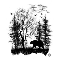 Forest Silhouette Tattoo ideas about forest tattoo sleeve on . Forearm Tattoos, Body Art Tattoos, Tattoo Drawings, Sleeve Tattoos, Tattoo Hip, Tattoos Skull, Trendy Tattoos, Tattoos For Guys, Tatouage Delta