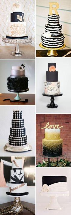 Différents wedding cakes thème noir et blanc.
