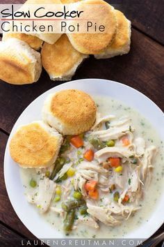 This slow cooker chicken pot pie is AMAZING and so easy to make. And no canned soup mix here! via @iatllauren
