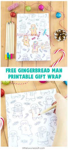 It's the most wonderful time of the year! It's also the most hectic time of  year too! So I've designed some cute printable gingerbread man colouring  gift wrap so you can unwind while also being productive :) This is great  too for kiddos who want help wrap...but maybe are a little to young to be  trusted with scissors and tape!
