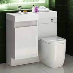 Basin & Oval Toilet Vanity Unit Combination Bathroom Suite Sink WC 906 x Toilet Vanity Unit, White Vanity Unit, Vanity Units, Bathroom Paneling, Bathroom Cladding, White Bathroom Cabinets, Small Space Interior Design, Bathroom Design Small, Bathroom Ideas