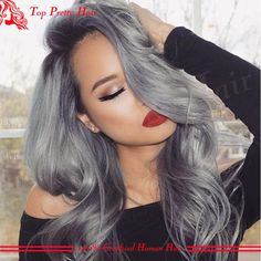 Brazilian Full Lace Grey Human Hair Wigs Dark Root Silver Grey Ombre Lace Front Virgin Wigs Glueless Full Lace Wigs For White Women