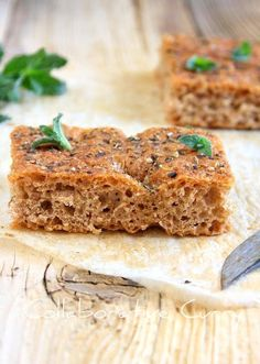 Whole Wheat focaccia - with some olive oil and greens this makes a great snack.