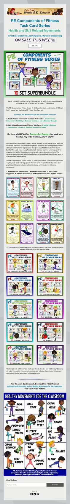 PE Components of Fitness- Task Card Series by Cap'n Pete Pe Games, Physical Education Games, Task Cards, Physics, Classroom, Activities, Learning, School, Fitness