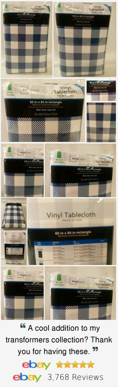 Tablecloth Blue White Checkered 60 X 84 Rectangle Picnic BBQ Party Vinyl New