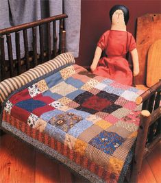 Small scrappy doll quilt from book, American Doll Quilts by Kathleen Tracy… Easy Quilts, Small Quilts, Mini Quilts, Scrappy Quilts, Small Quilt Projects, Quilting Projects, Victorian Dolls, Antique Dolls, Dollhouse Quilt