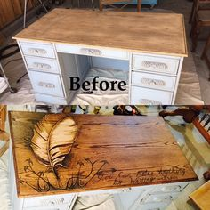 Decorative stain art with gradual shading.  Vintage oak writing desk with feather quill and a quote from CS Lewis.  Follow Custom Kate on Instagram #customkatepaints, Facebook, or https://youtu.be/pISdSYk2abg