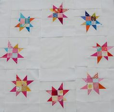 Very inspired by the lovely and talented Kerry i have been diving into my small scraps for some scrappy stars. Wiping out the supply of. Star Quilt Patterns, Star Quilts, Scrappy Quilts, Mini Quilts, Baby Quilts, Star Blocks, Quilt Blocks, Quilt Tutorials, Sewing Crafts