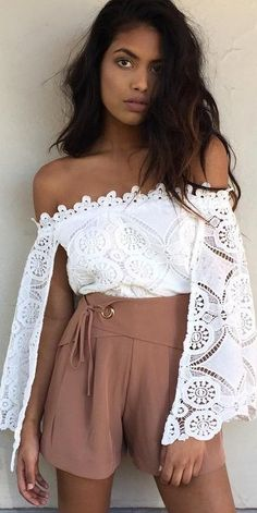 #summer #lovely #fashion |  White Off The Shoulder Top + Dusty Pink Shorts