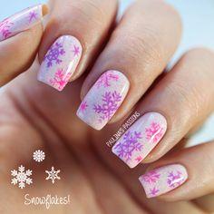 Pink and Purple Snowflake Nails - Paulinas Passions