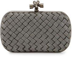Bottega Veneta Metal Intrecciato Knot Frame Clutch Bag, Silvertone