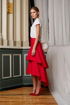 Date-night outfit idea: a casual T-shirt and dressy ruffled skirt, inspired by Rosie Assoulin spring 2015