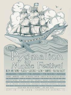 Whale Ship Pygmalion Music Festival Poster. $25.00, via Etsy.