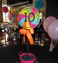 Printable Centerpiece Toppers  Neon Brights  by ThatPartyChick, $8.00