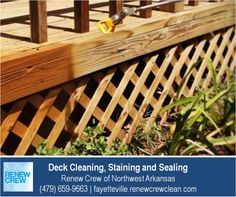 http://fayetteville.renewcrewclean.com/deck-cleaning-company – Spraying on the deck stain and sealant after a complete cleaning ensures even application and consistent color. It also allows the sealant to reach awkward corners and crevices. All Renew Crew of Northwest Arkansas products are safe for your plants, kids and pets. We serve Fayetteville AR plus Rogers, Bentonville, Bella Vista, Farmington, Siloam Springs West Fork, Ft Smith, Eureka Springs. Free estimates.