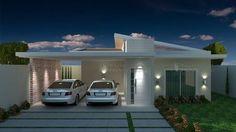 Casa C029: Projeto de casa com 3 quartos, sendo 1 suíte, 2 banheiros e 2 vagas na garagem. Com traços modernos e telhado aparente, forma um estilo único.