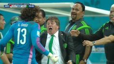 Mexico coach Miguel Herrera is a breakout World Cup star. Barca Flag, Mexico National Team, World Cup Groups, Image Foot, Mexico Soccer, World Cup Champions, Van Persie, Soccer Stadium, Team Coaching