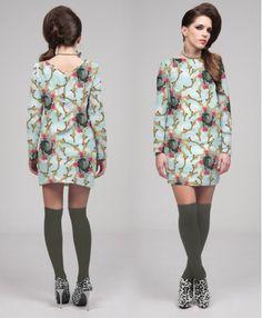 """GORILLA"" PRINT SIXTIES DRESS"