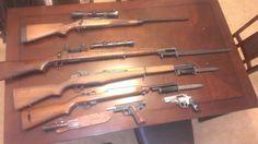 Remington 700, 1903A3 (lyman scope, bayonet), M1 garand w/ bayonet, M1 Carbine w/ bayonet, WWII Navy Issued Ka-Bar, Springfield 1911, Rueger SP101 3in barrel