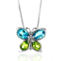 """Blue Topaz and Peridot Butterfly Pendant in Sterling Silver with 18"""" Box Chain Netaya. $22.99"""