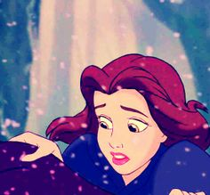 Belle....you can see it in her eyes....should she help the Beast who saved her or not?