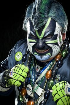 Painted Hawk has been featured in commercials as one of the Seahawks most dedicated fans.