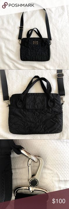 """MARC BY MARC JACOBS Nylon Computer Bag Great condition! Used it for my 13"""" MacBook Pro. MARC BY MARC JACOBS 'Pretty Nylon - Computer Commuter' Bag. A durable, lightly padded computer bag is cheerfully embroidered with tonal, oversized logo letters. Casually knotted handles and an optional, adjustable shoulder strap provide convenient carrying options. -Top zip closure. -Fits most 13"""" laptops. -Exterior flap pocket. -Nylon. Workwear. Work bag. Marc By Marc Jacobs Bags Laptop Bags"""