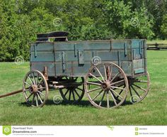 old farmhouse pictures | Close-up of an old wooden buckboard horse drawn farm wagon, sitting in ...