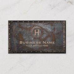 Shop Construction Vintage Monogram Rusty Metal Business Card created by cardfactory. Metal Business Cards, Vintage Business Cards, Minimalist Business Cards, Elegant Business Cards, Business Signs, Business Card Size, Professional Business Cards, Business Card Design, Construction Business Cards