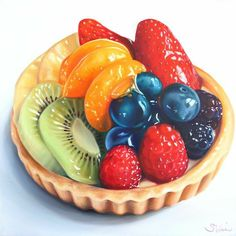 Realistic Drawings, Art Drawings, Food Art Painting, Fruit Painting, Desserts Drawing, Dessert Illustration, Cute Food Art, Fruit Tart, Fruit Fruit