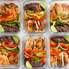 A side image of 6 meal prep containers with Healthy Chicken Fajitas, made with Fajita Chicken, Fajita Bell Peppers and Lime & Cilantro Black Beans stored in the fridge. Healthy Recipe Videos, Easy Healthy Recipes, Diet Recipes, Easy Meals, Healthy Pastas, Healthy Foods To Eat, Healthy Snacks, Healthy Eating, Healthy Weight
