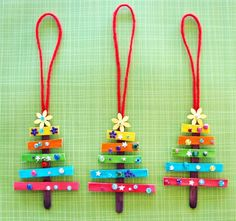 27 Christmas Activities for Kids- Crafts, Ornaments, Decor and Creative Play! Cheap Christmas Crafts, Popsicle Stick Christmas Crafts, Stick Christmas Tree, Christmas Activities For Kids, Popsicle Sticks, Kids Christmas, Christmas Ornaments, Xmas Trees, Fun Activities