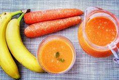 Mrkvovo-banánové smoothie Cantaloupe, Carrots, Smoothies, Fruit, Vegetables, Food, Meal, The Fruit, Essen