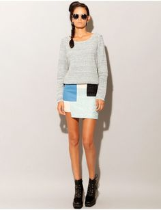 Blue patch work skirt