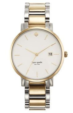 Free shipping and returns on kate spade new york 'gramercy grand' bracelet watch, 38mm at Nordstrom.com. A larger silhouette gives a menswear-inspired look to a round bracelet watch designed with slim indexes and a slender bezel for a distinctly feminine style.
